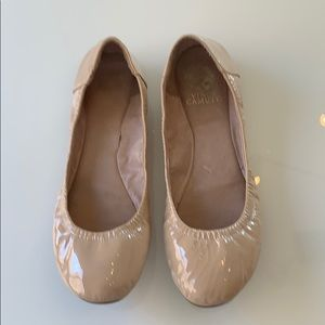 Vince Camuto Nude Patent Leather Ballet Flats!